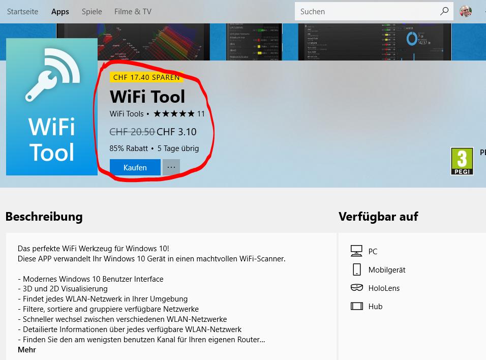 WLAN Tool von Microsoft umsonst