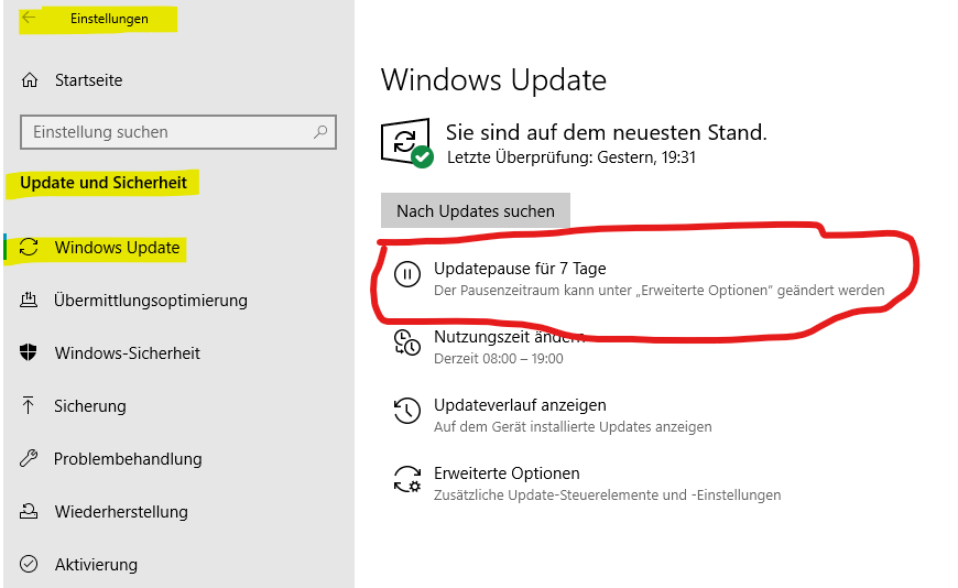 Wie kann ich Windows10 Updates stoppen?