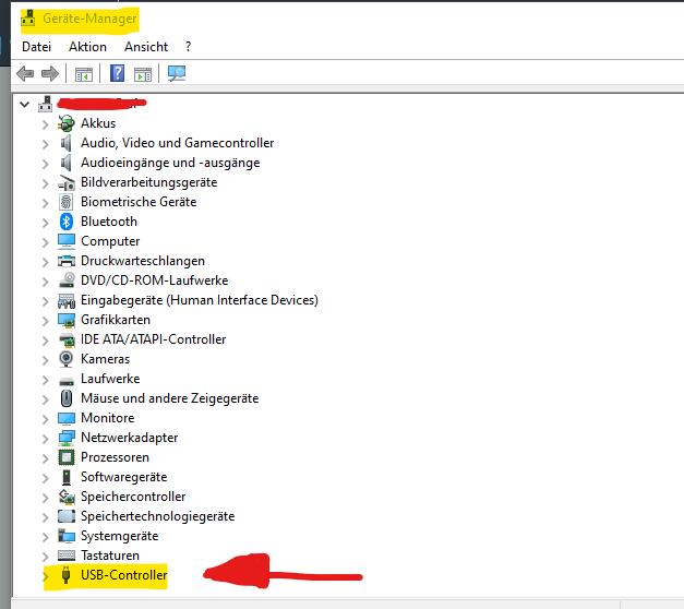 USB-Fehlermeldung nach Neustart
