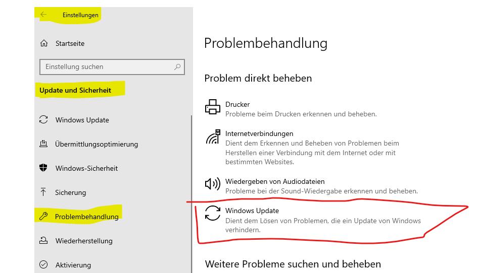 Windows update unter windows pro 10 64 bit wird nicht geladen. Woran liegt das?