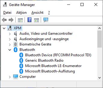 Bluetooth Symbol fehlt
