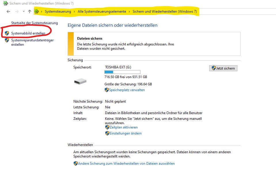 ab wann wird eine Systemsicherung von Windows wieder funktional zur verfügung stehen (noch...