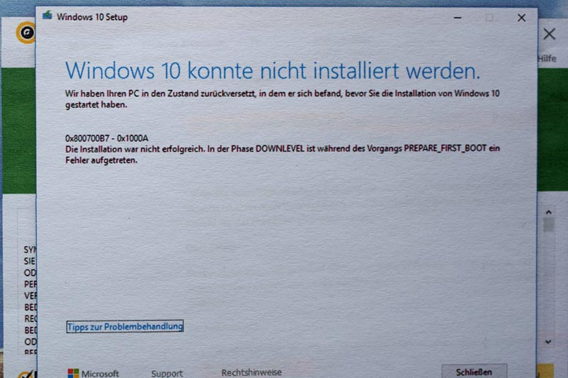 Update-Probleme Windows 10 Home  V. 1803