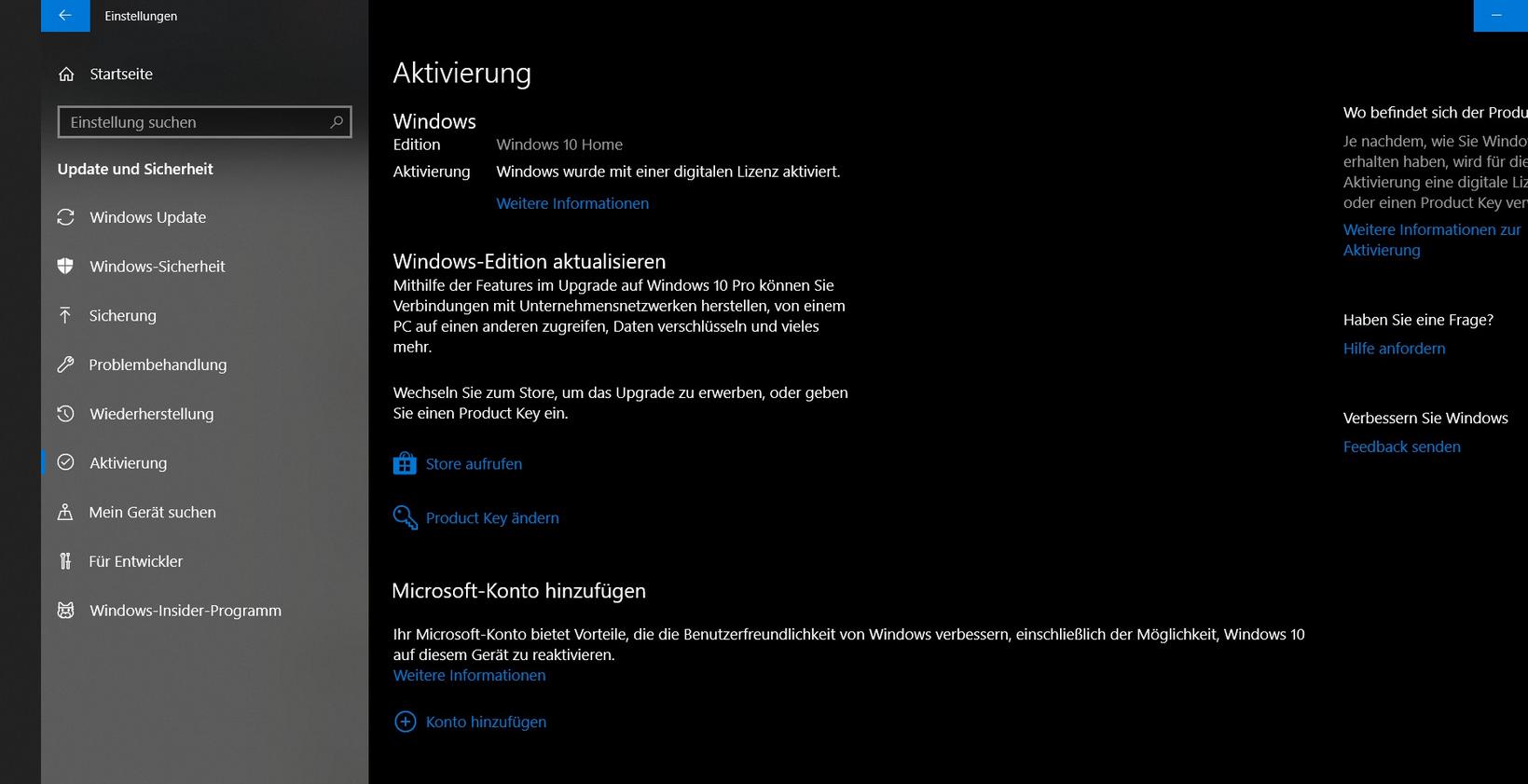 Upgrade auf Windows 10 Pro