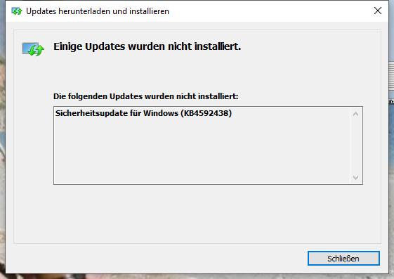 KB4592438 Fehler bei Installation