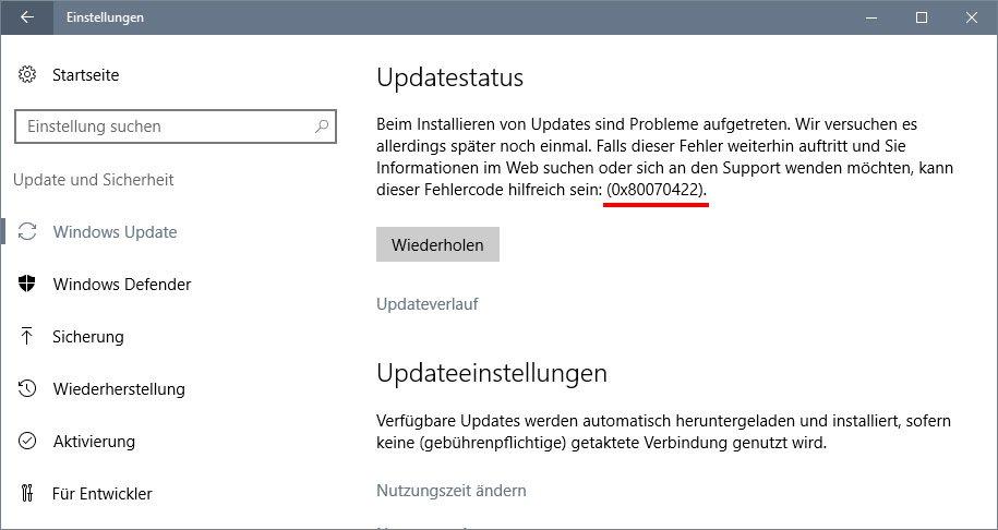 Windows10 update Fehlercode 0x80070422