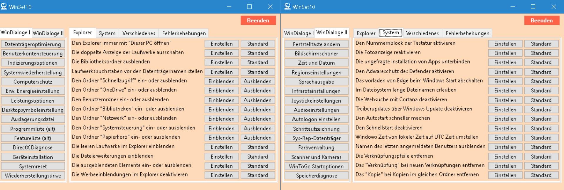 WinSet10 - Einstellungs- und Fehlerbehebungstool für Windows 10