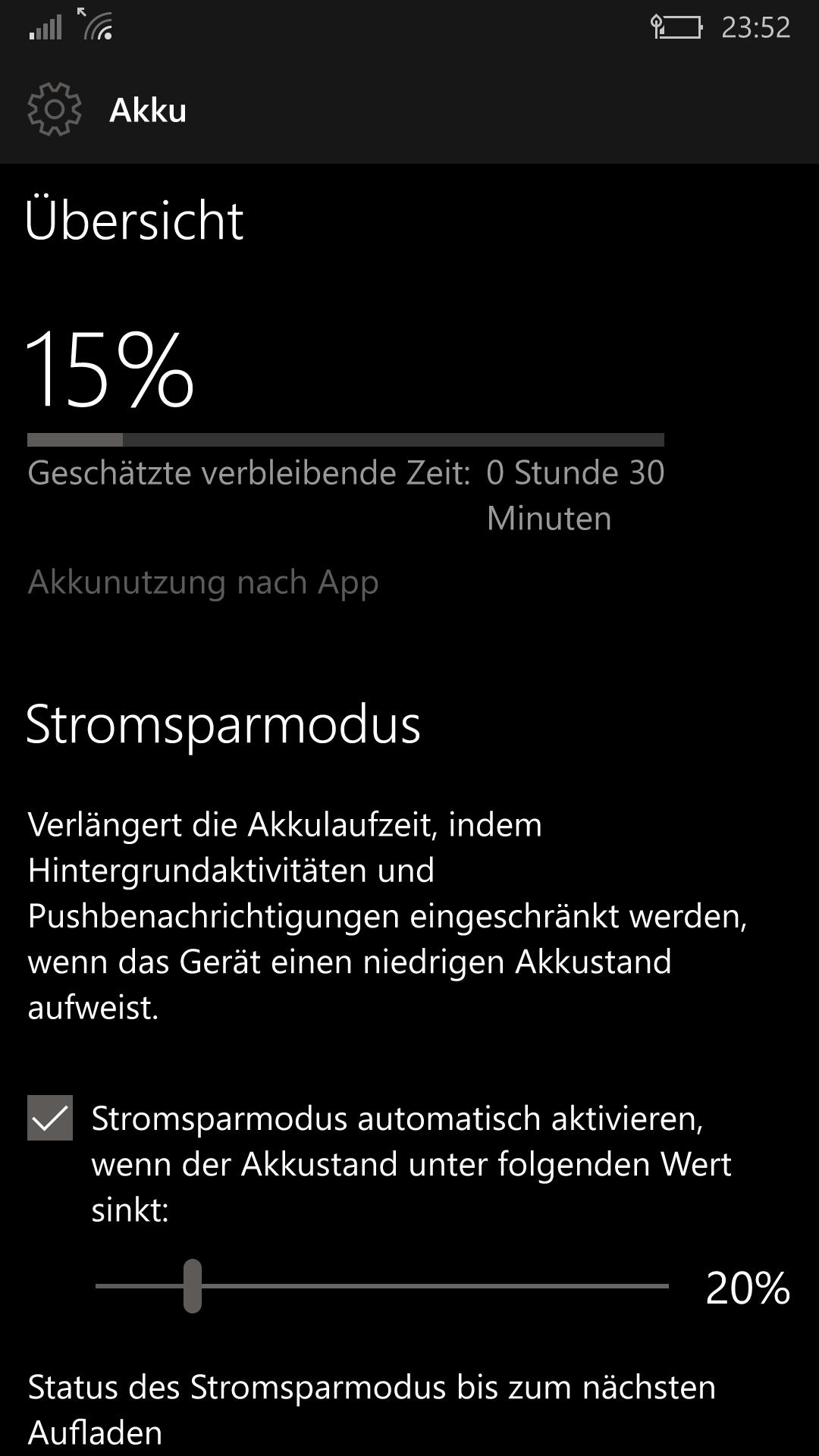 Keinerlei Warnung für niedrigen Akku-Ladezustand (Lumia 950)