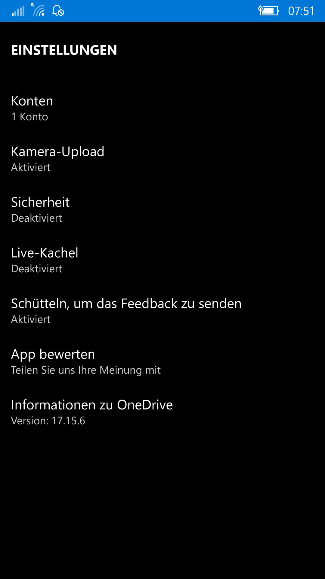 Lumia 950 Fotos werden nicht auf OneDrive snychronisert
